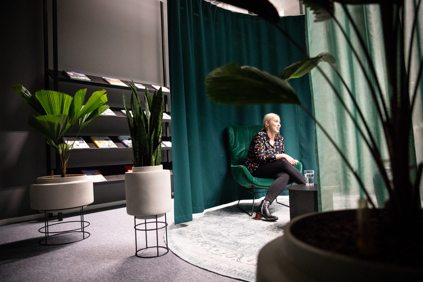 Tina in one of the adidas meeting rooms and a jungle environment gives an interview on her purpose and creativity. Marimekko, design, GamePlanA