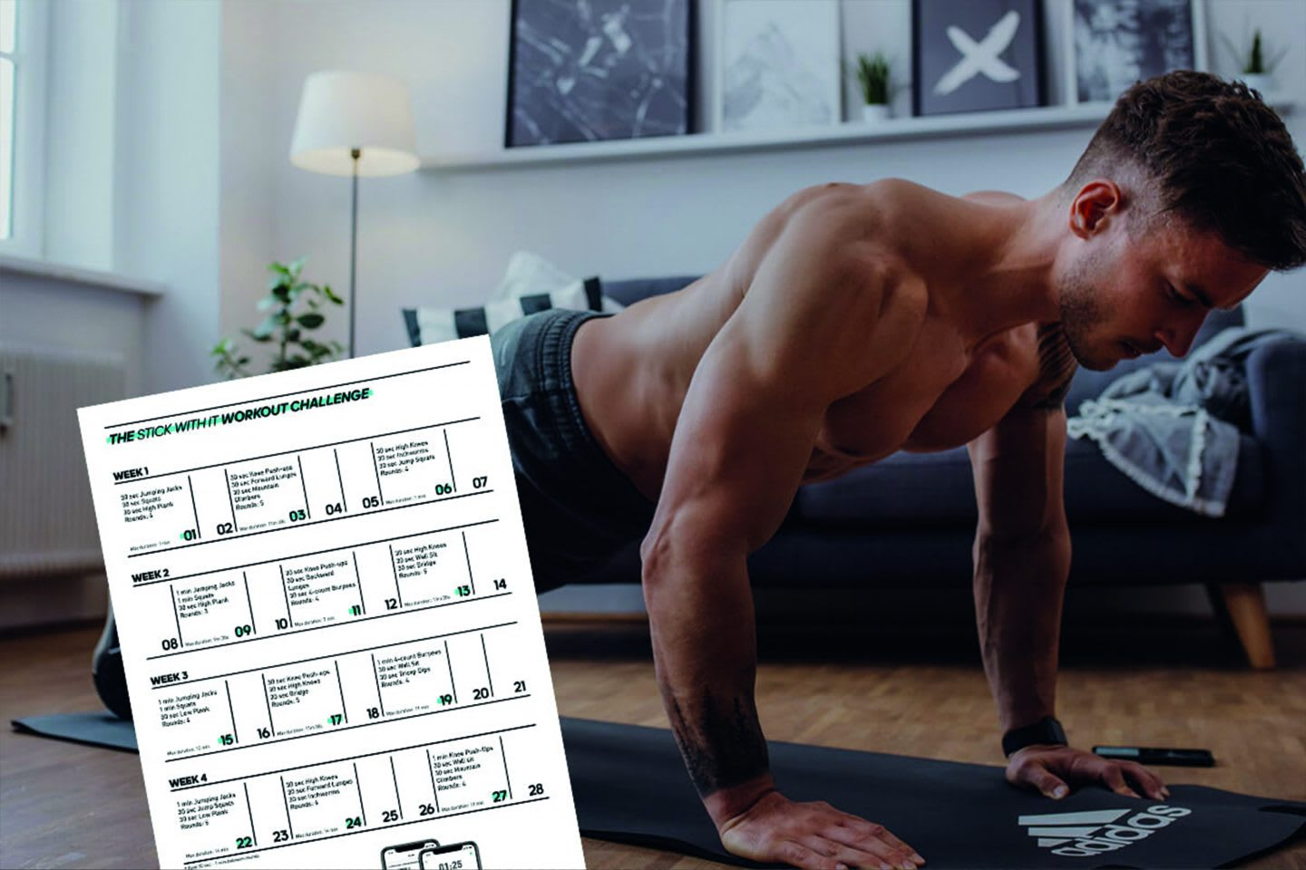 Man working out at home with sports plan, home office, workout, sports, exercise, challenge, GamePlan A