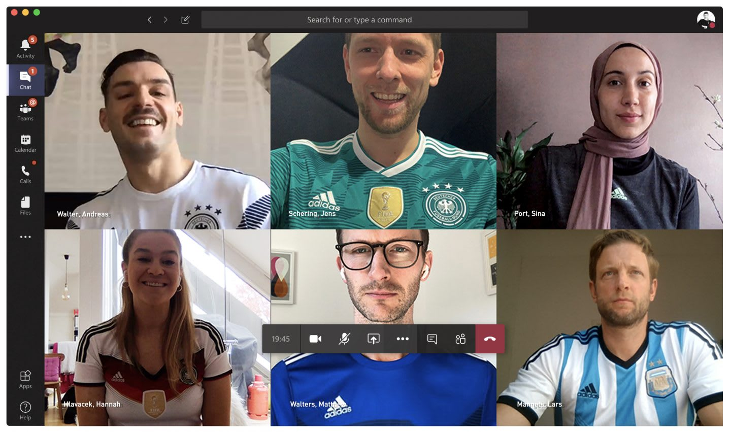 Team wearing football jerseys during a video conference call, teamwork, collaboration, creativity, video, GamePlan A