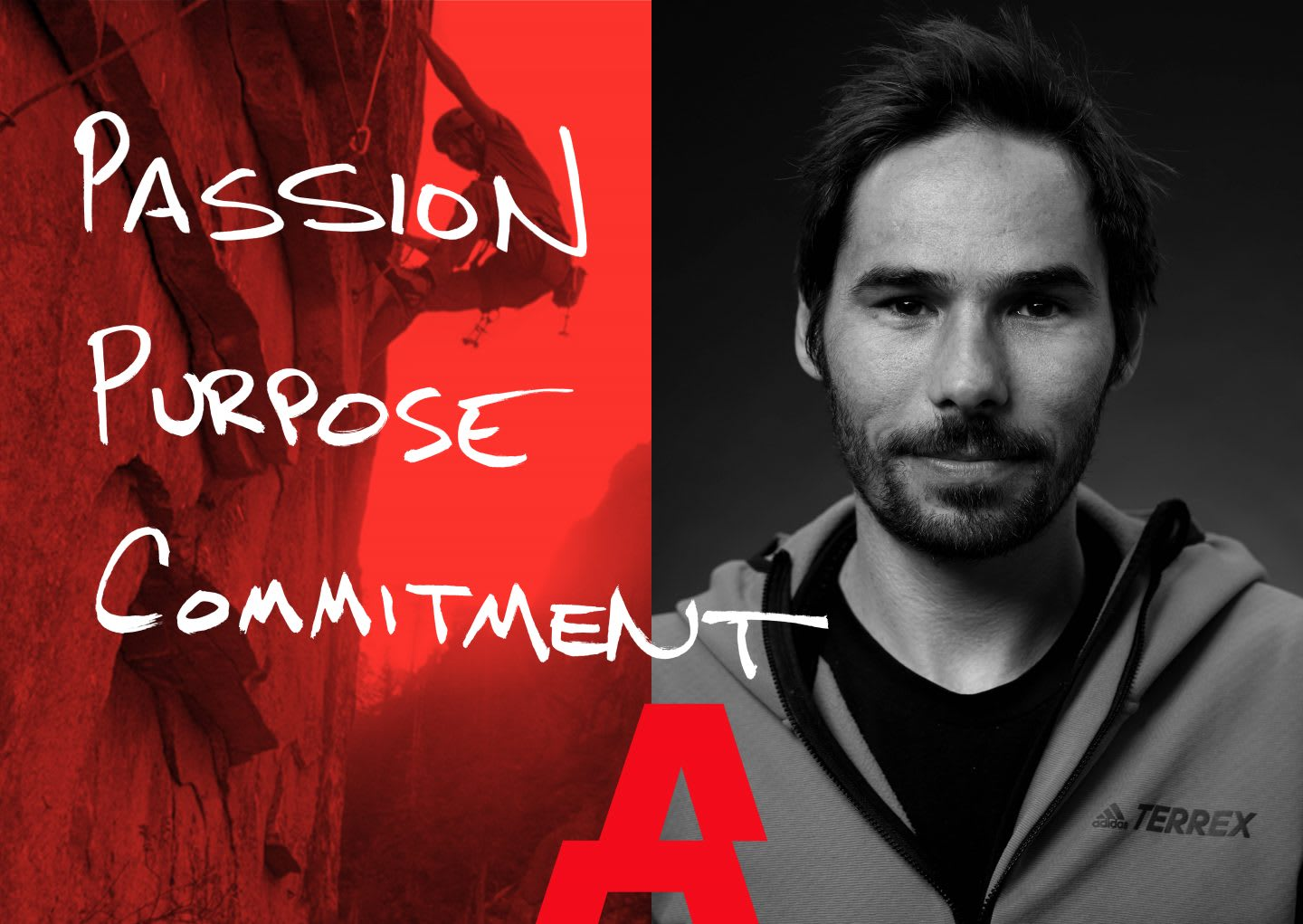 The image shows a head shot from Kevin Jorgeson and his three words: Passion-Purpose-Commitment. Kevin Jorgeson, athlete mindset, achieving success. boost confidence, challenges, finding purpose.