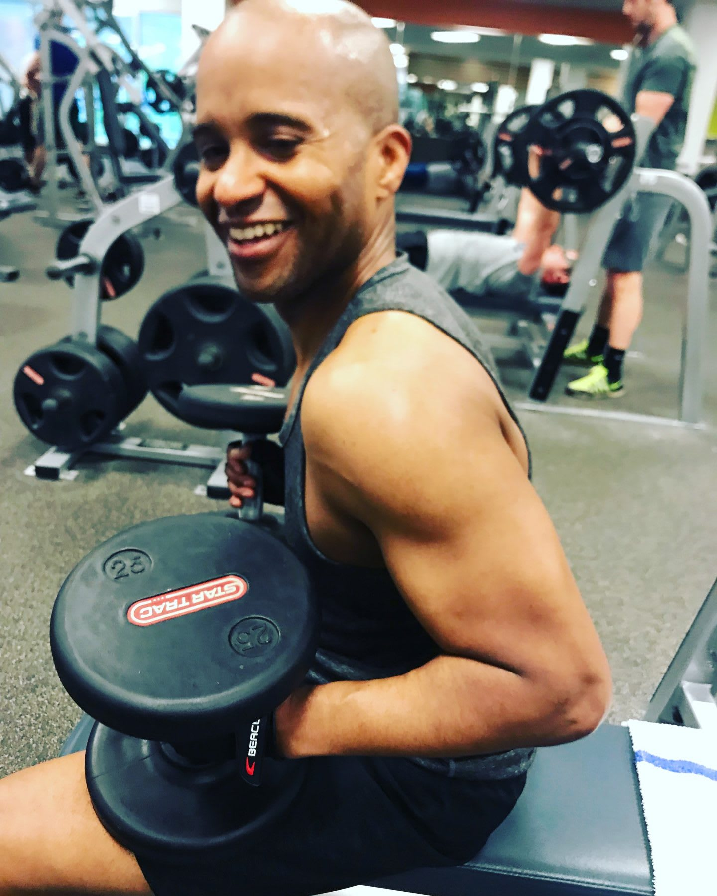 James Gunn happily training. Accountability partner, GamePlanA