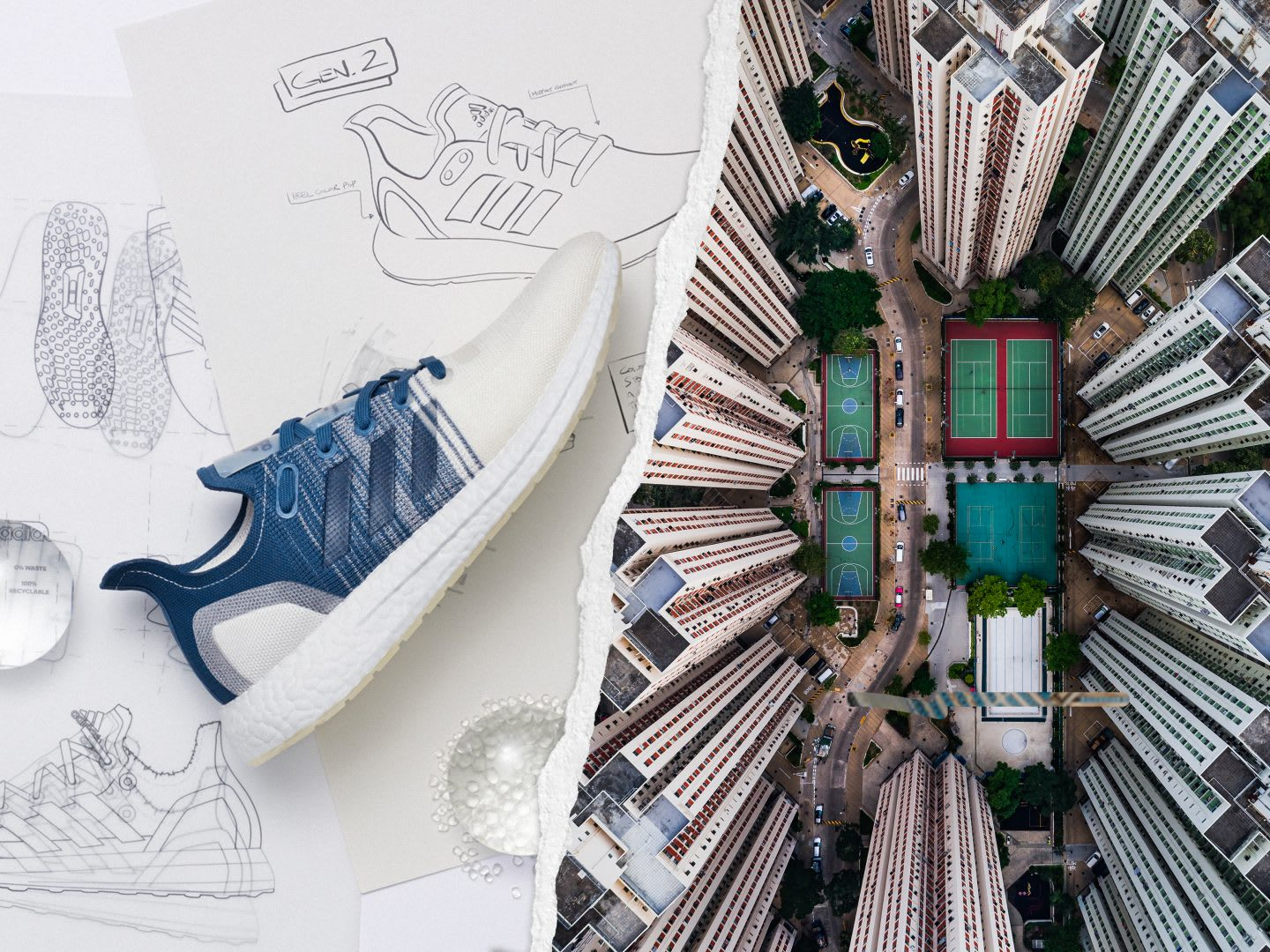 Running shoe with shoe sketches in a collage with skyscraper buildings in a city, sustainability, futurecraftloop, buildings, highrise, tennis court, city, circularity