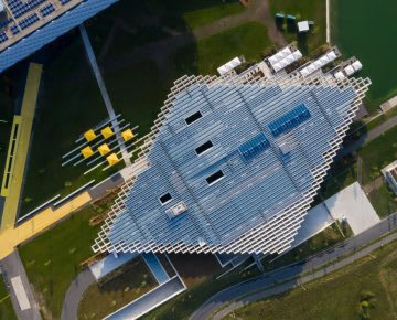 Birdseye view of architectural building on green grass, Halftime, building, adidas, campus, HQ, Herzogenaurach