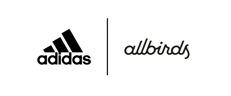 Allbirds and adidas partnership logo lockup, innovation, collaboration, environment, sustainability, carbon