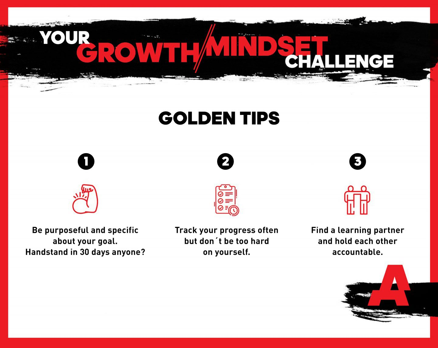 This picture shows three golden tips to start your personal Growth Mindset Challenge. Self-Improvement, Challenge, Growth Mindset, Mindset, Community, GamePlanA.