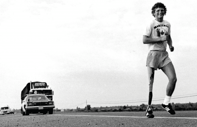 Terry Fox running the marathon of hope through Canada. Terry Fox, Marathon of Hope, Legend, GamePlanA.