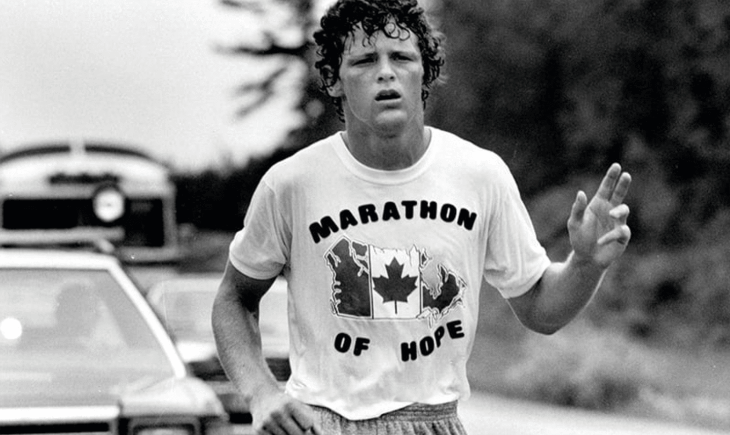 Photograph of Terry Fox during his Marathon of Hope. Terry Fox, Marathon of Hope, Running, Legend, GamePlanA.