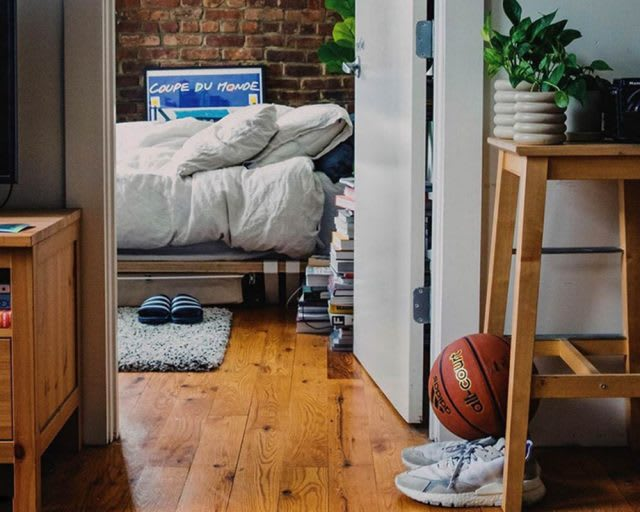 a bedroom in a nice apartment. adidas, hometeam, GamePlan A