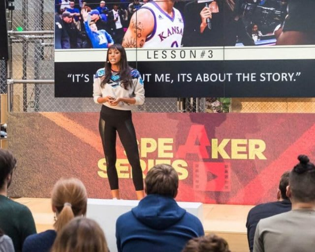 presenter and TV host Maria Taylor on stage talking at the adidas HQ in Germany. adidas, learning, talk, career, GamePlan A, Speaker Series