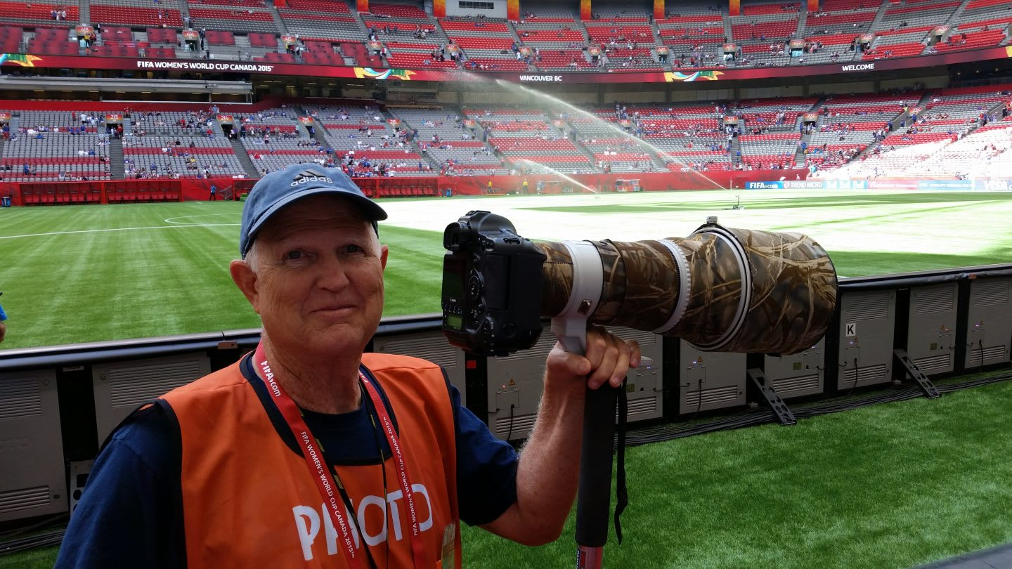 Old man holding camera photographing the Women's World Cup in Canada, photographer, enthusiast, football, soccer, Grandpa B, Bruce Benson, adidas, sports