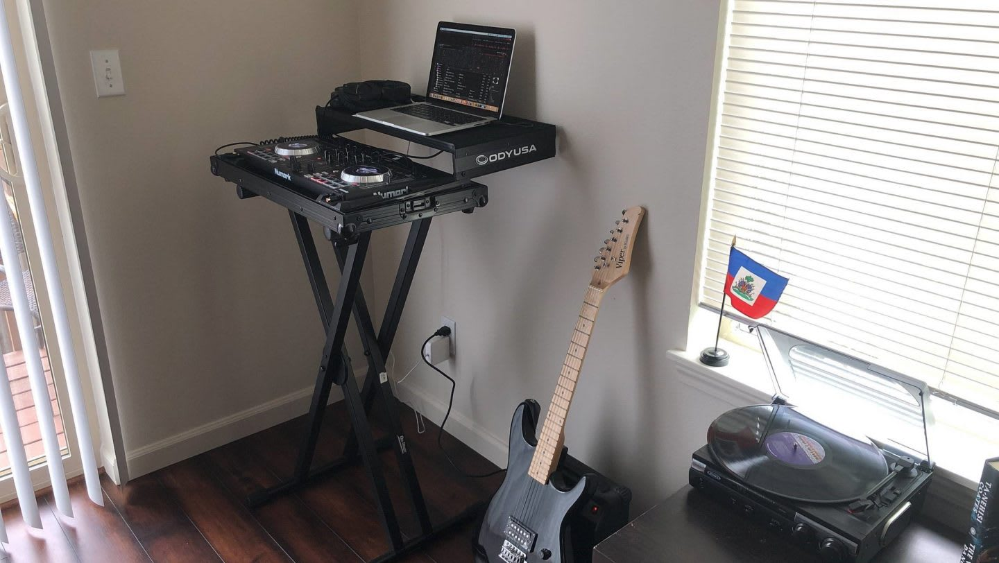 Music setup in a house with DJ decks and musical instruments, creativity, creator, DJ, Aaron Limonthas, adidas, employee