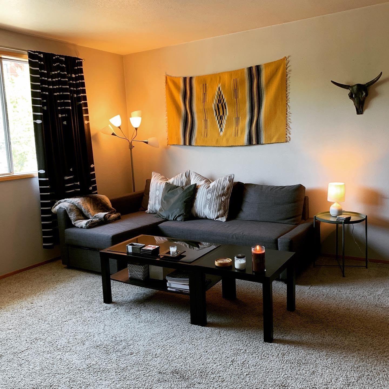 Sofa and furniture in a warm living room, interior design, furniture, yellow, Brandi Cox, adidas, employee