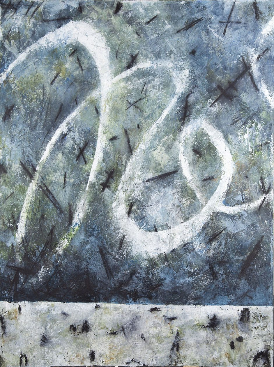 Blue and green painting on canvas, art, creativity, artwork, artist, painter, picture, Brandi Cox, adidas, employee