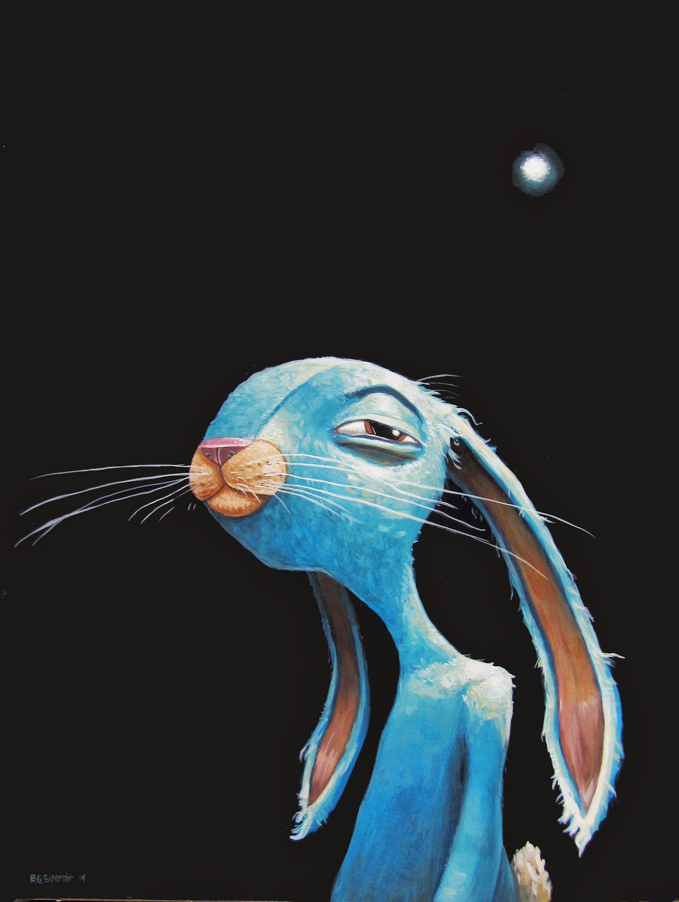 Painting of a blue rabbit squinting under a dark sky with a full moon, painting, artwork, art, creativity, bunny, Brett Superstar, adidas, employee