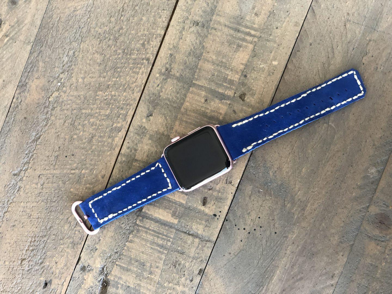 Blue customized Apple Watch strap, bespoke, personal, design, handmade, Charlie Kirihara, adidas, employee
