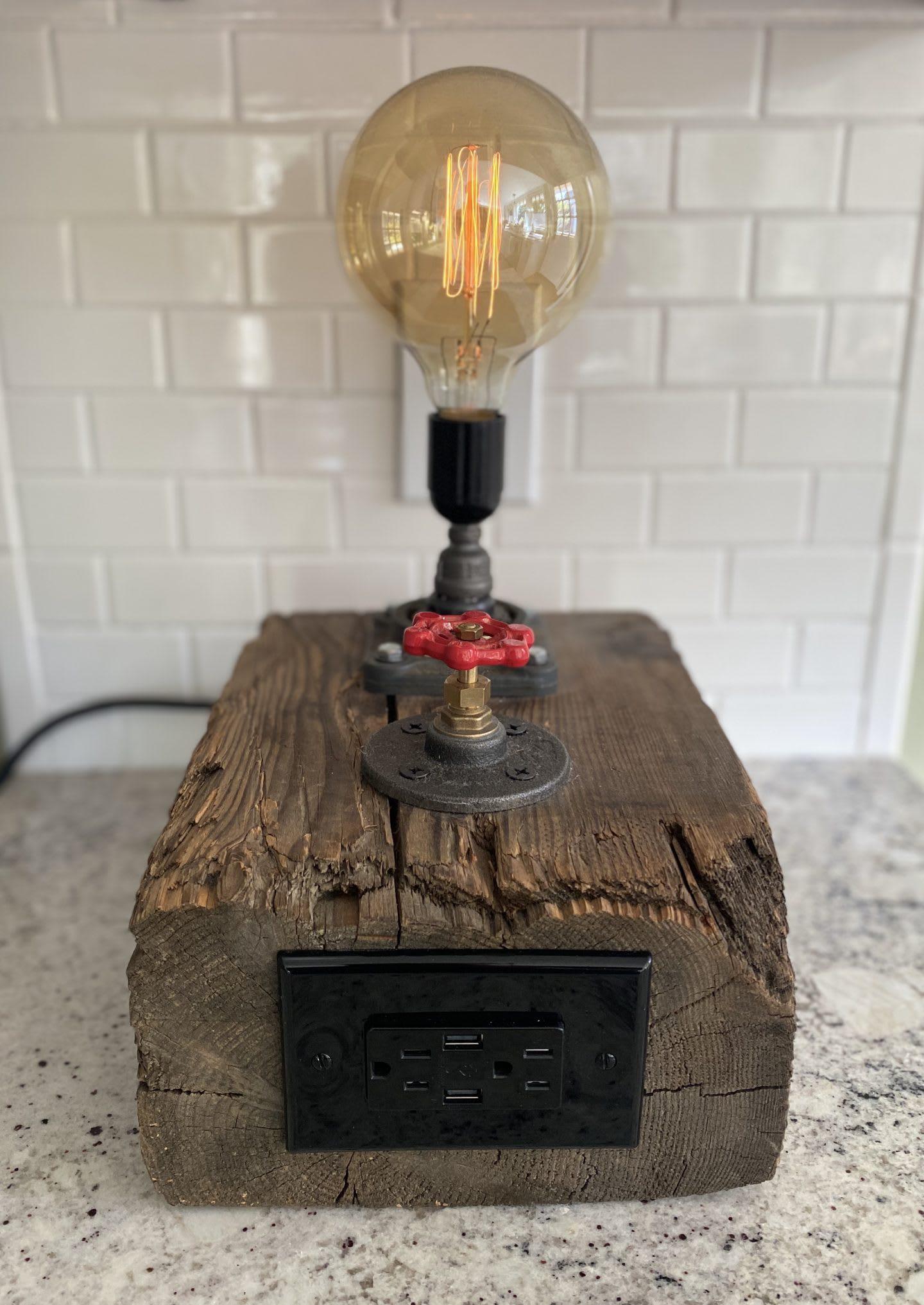 Handmade lamp construction made from old materials, light bulb, creation, customized, Ed Musho, adidas, employee