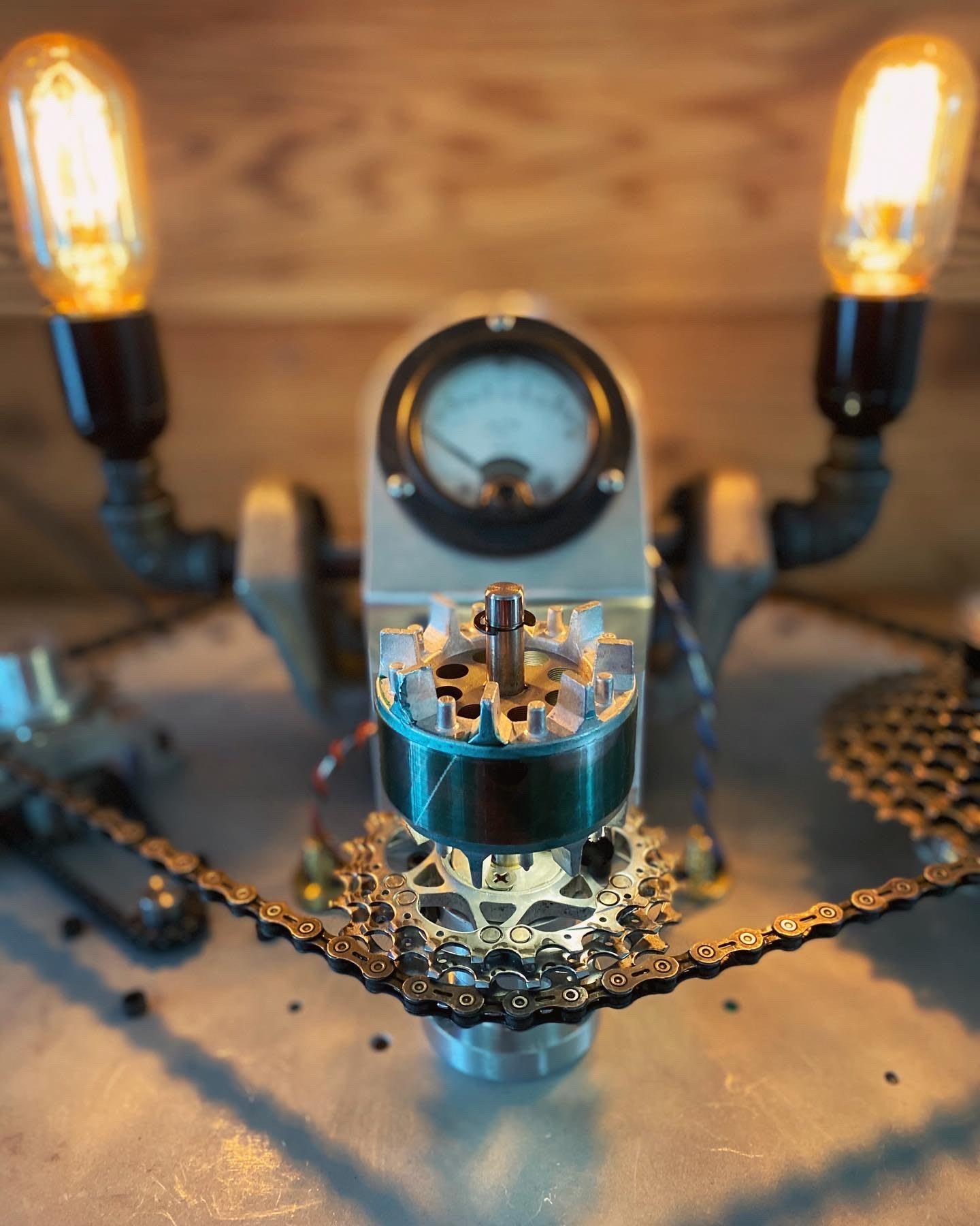 Close up of bespoke lamp construction, gears, lamp, customized, Ed Musho, adidas, employee