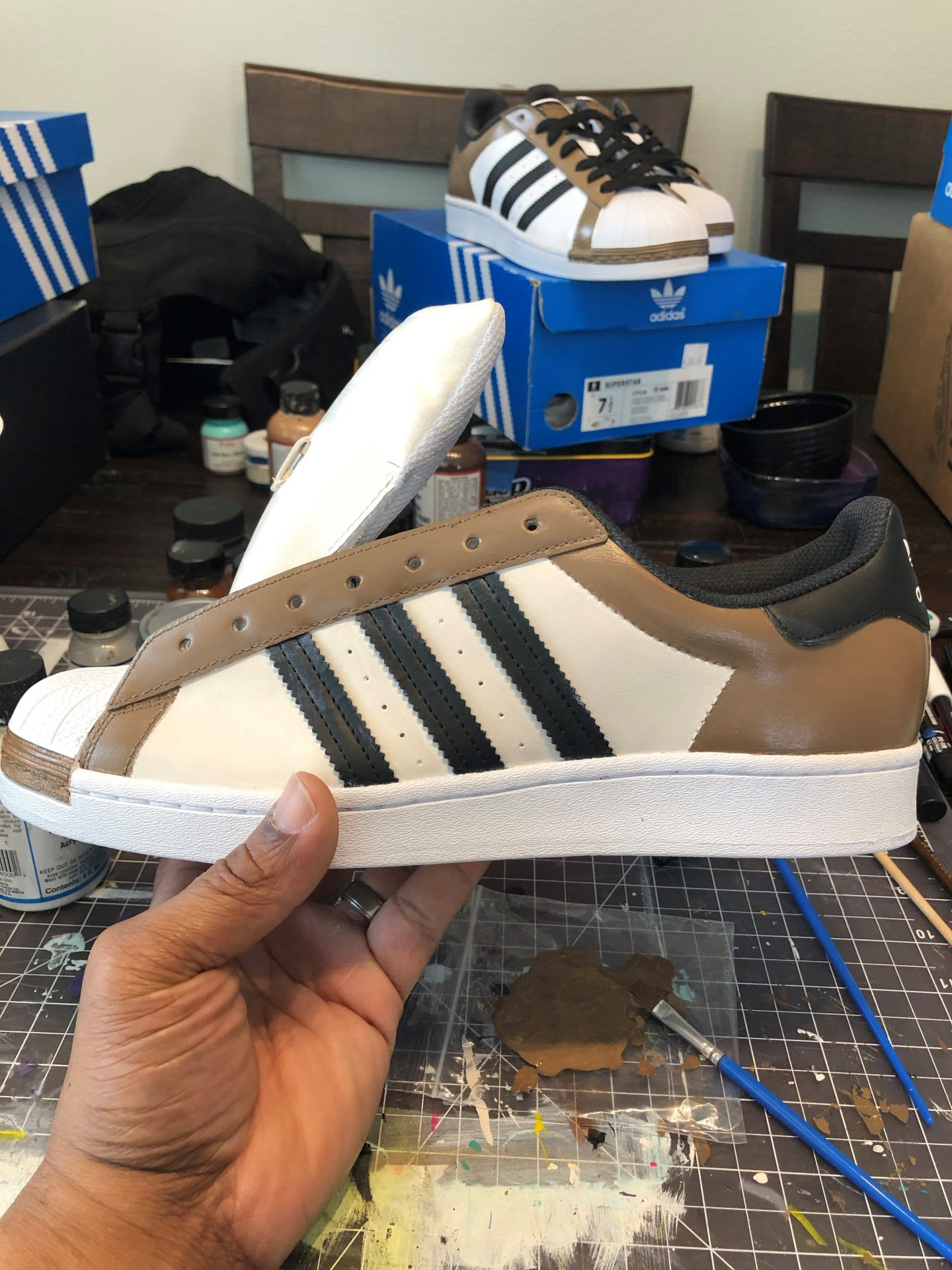 Sneakers customized with bespoke designs, trainers, shoes, Todd Standsbury, adidas, employee, creative, designer