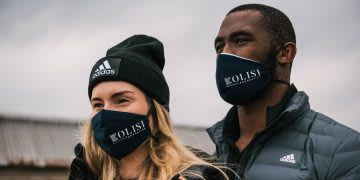 Siya and and Rachel Kolisi wearing Kolisi Foundation face masks and adidas clothes, Kolisi Foundation, Siya Kolisi, rugby player, philanthropy, volunteer