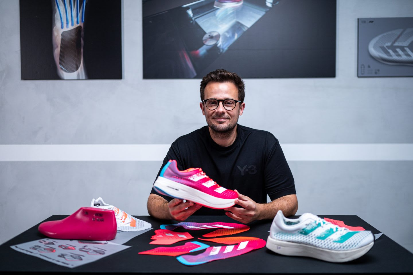 adidas Brand Marketing employee Caio Amato with the adidas adizero adios Pro, running, shoes, sports, technology, innovation, design