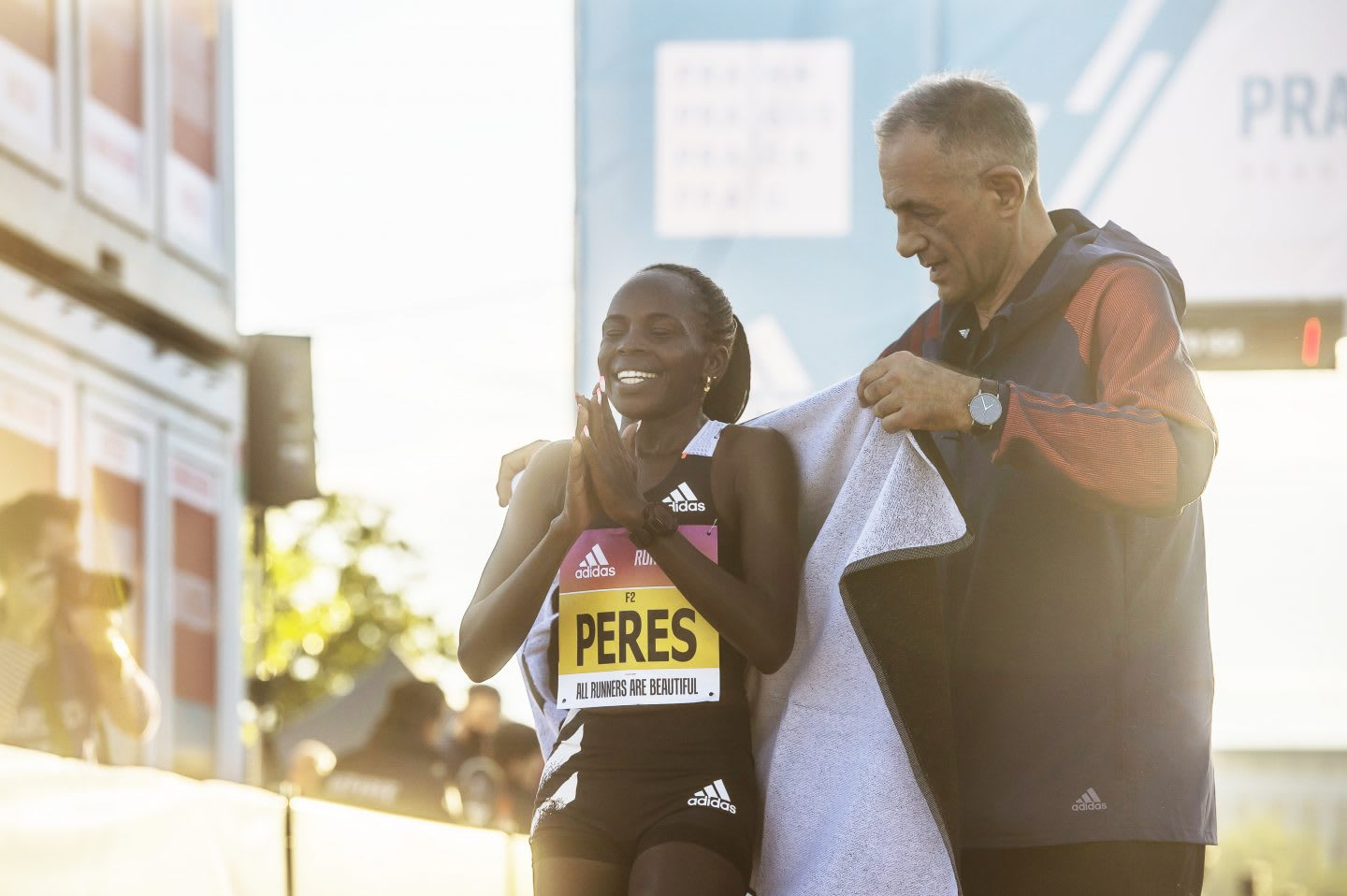 Kenyan long-distance runner Peres Jepchirchir finishing the Prague half marathon and breaking a World Record for the fastest female half marathon, adidas, athlete, runner, sports
