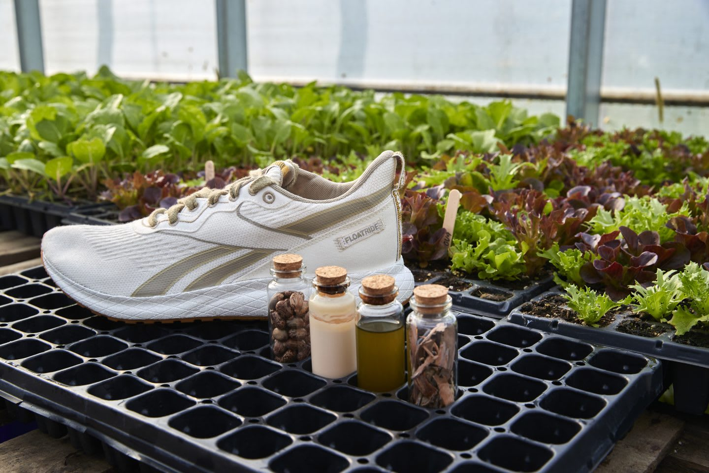 Reebok Floatride Forever GROW with materials in a farm, sustainability, plant-based, Reebok