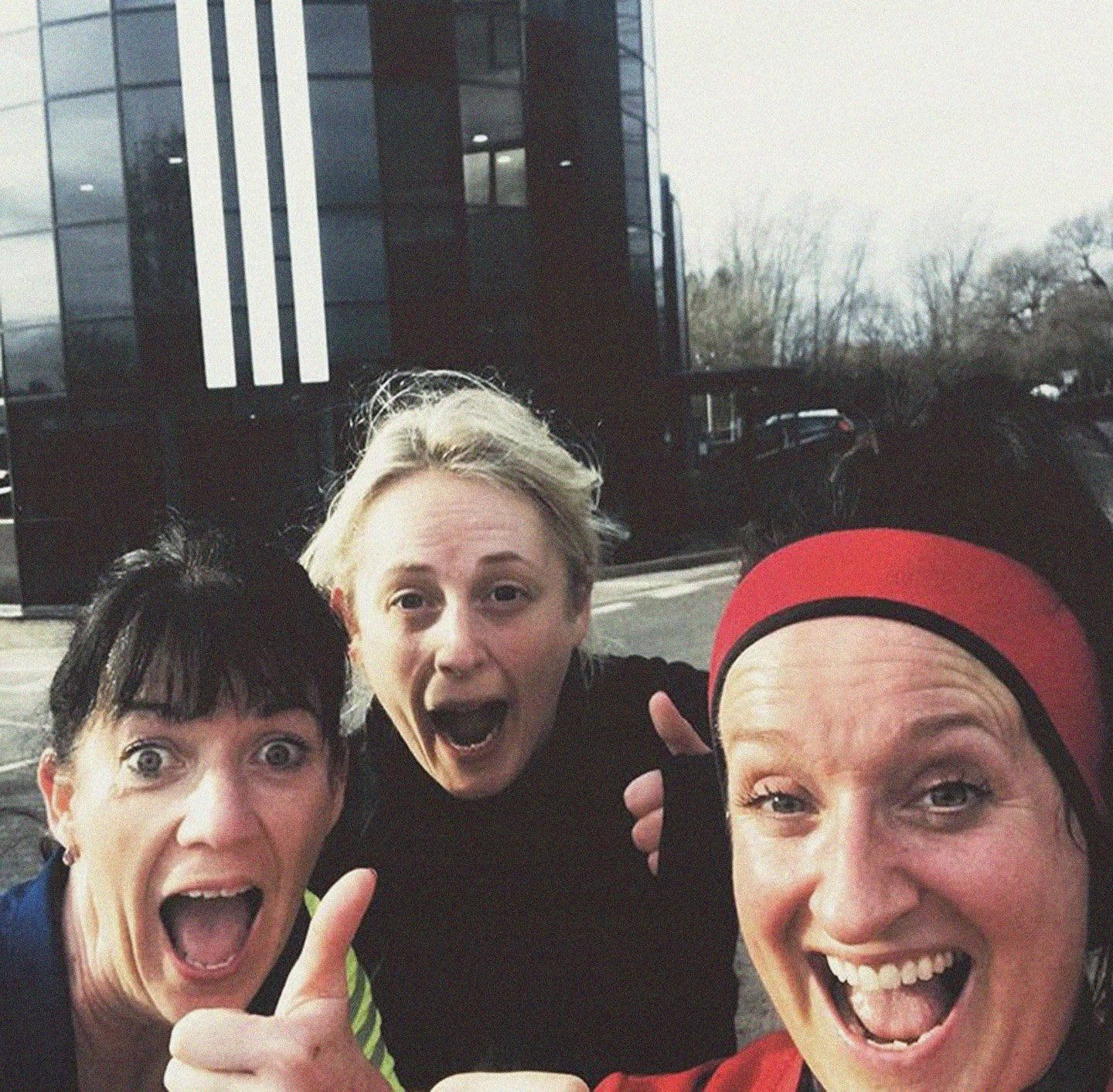 Three woman smiling and posing happily after running session, Sarah Sanderson, sport, fitness, team, friends, run