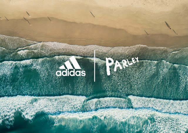 adidas x Parley 5 year anniversary logo mock-up on blue waves and sand, sustainability, collaboration, plastic waste, adidas