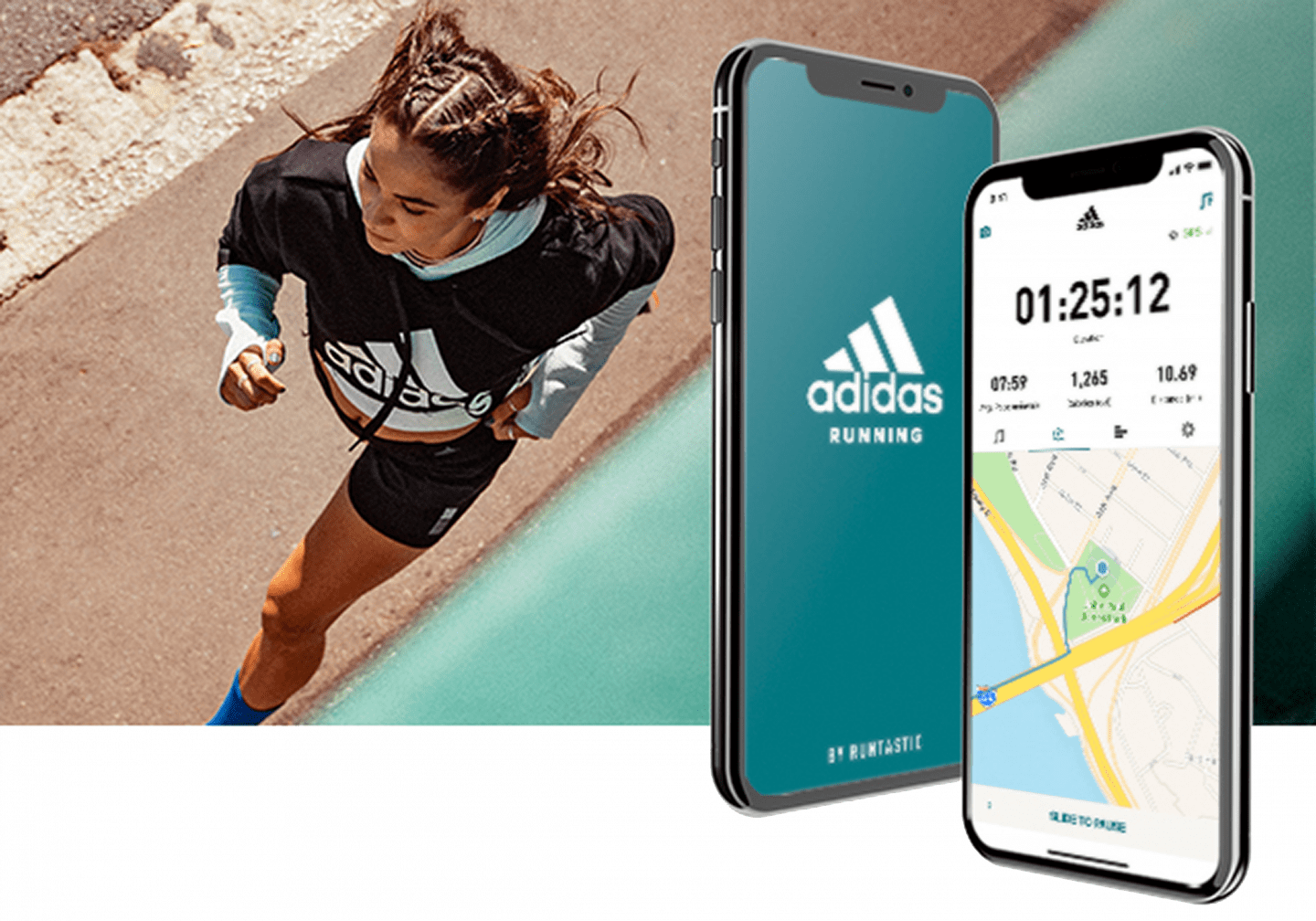 Woman wearing sportswear running on the beach, phone, mobile, Runtastic, adidas, Run for the Oceans, event, running