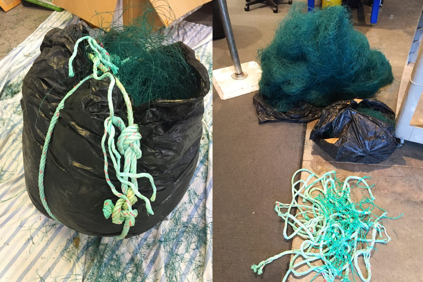 Old ocean nets in trash bags, materials, sustainability, adidas, innovation