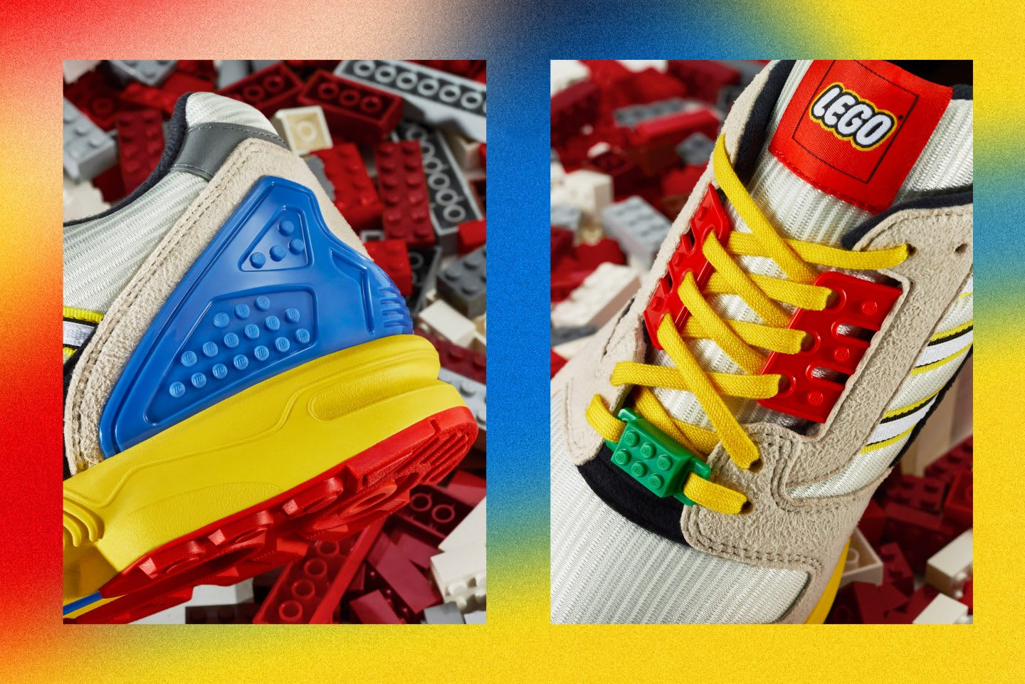 Shoes with primary colors on top of Lego toy bricks, adidas, LEGO partnership, collaboration ZX8000, shoes, Originals