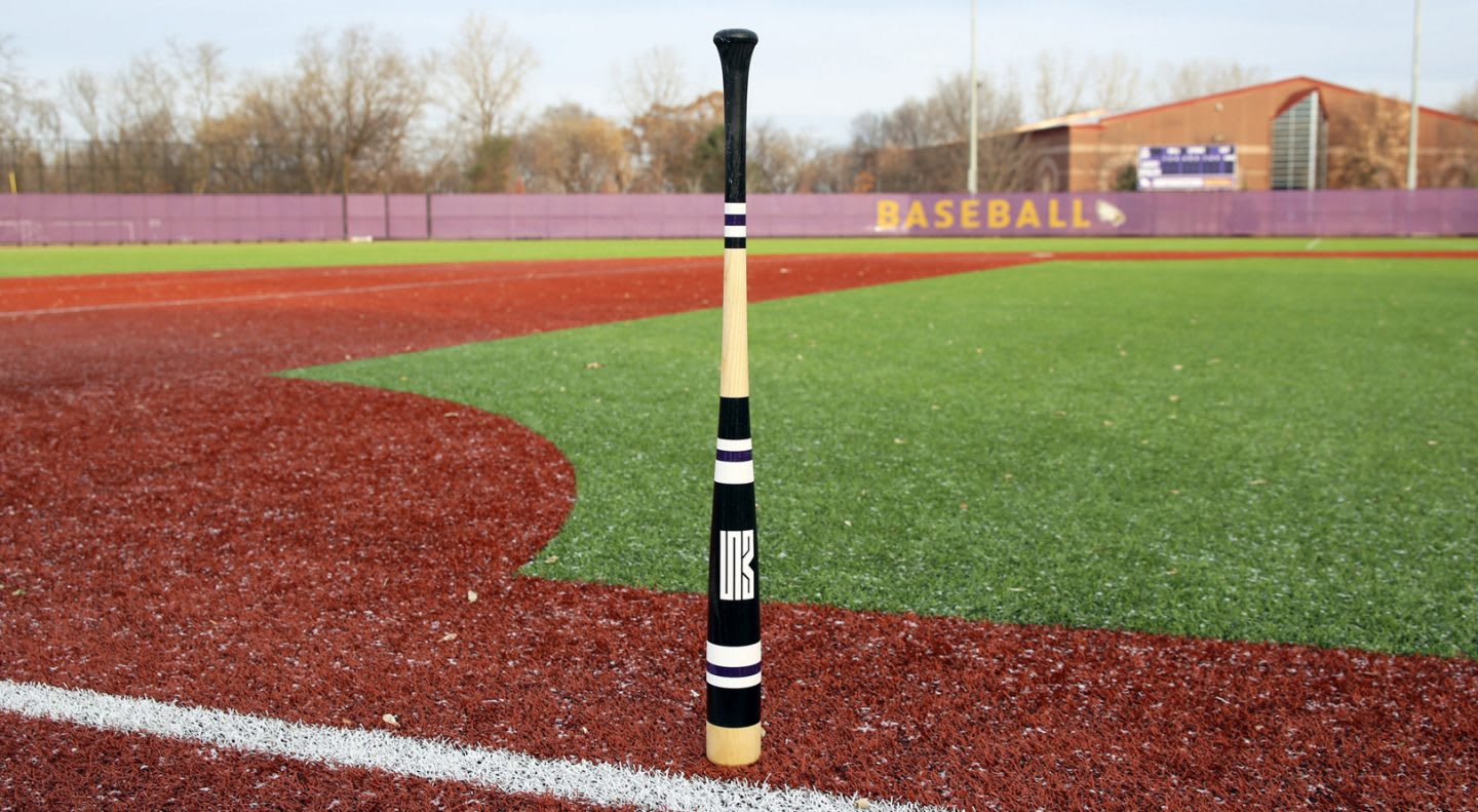 Baseball bat standing upright on baseball field on a sunny day, baseball, sport, Adam Martin, Makers of Sport, Mitchell Bat Company