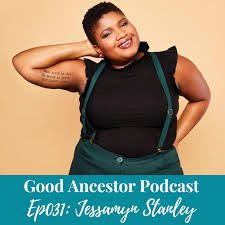 Black woman smiling and posing at the camera confidently in a stylish outfit, Good Ancestor, podcast, race, inclusion, Jessamyn, Stanley