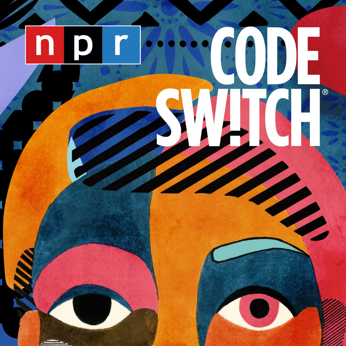 Colorful drawing of a face in abstract style, NPR, Code Switch, artwork