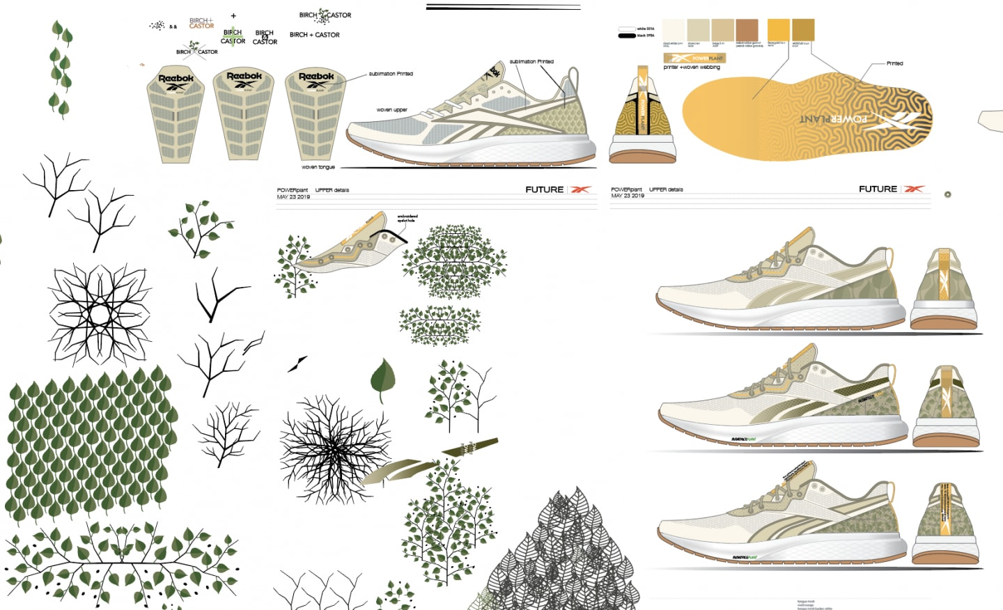 Designer sketches of running shoe with sketches of plants, Reebok, Forever Floatride GROW, innovation, design, Ricardo Vestuti