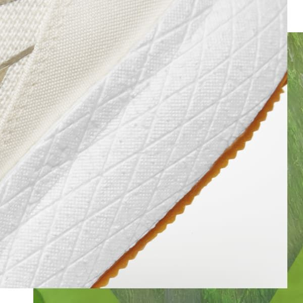 Zoomed in image of detailed shoe parts, Forever Floatride GROW, sustainability, natural, bio, Reebok, running, plant