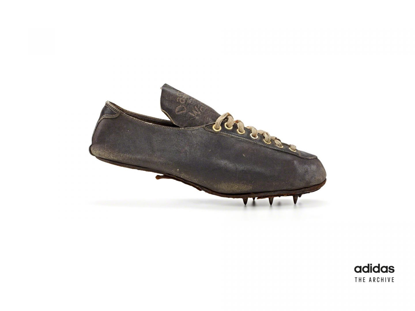 Old fashioned running spike from adidas, Lina Radke, athlete, Olympics, 1928, Adolf, Dassler, Adi, adidas, sports, shoes, shoemaker, history, archive