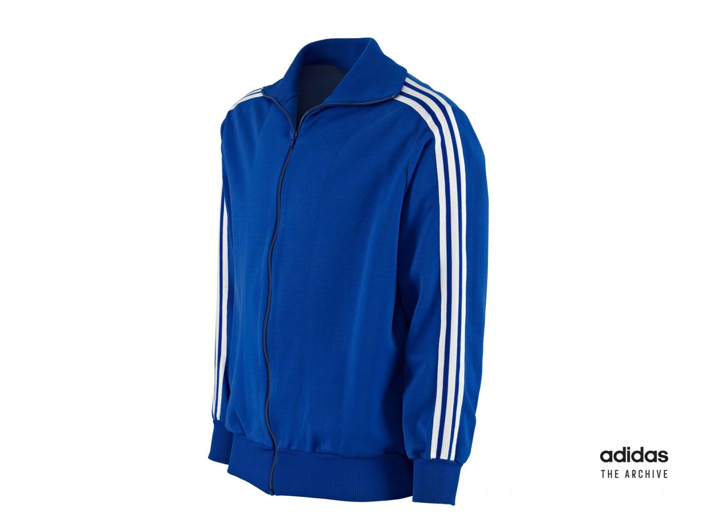Blue vintage tracksuit jacket from adidas, Adolf, Dassler, Adi, adidas, sports, apparel, shoemaker, history, archive, tracksuit
