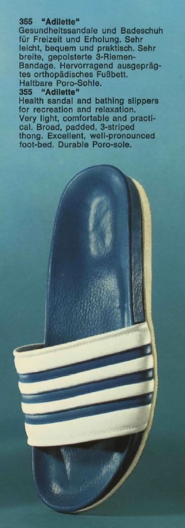 Blue catalogue description of blue adidas sliders, Adolf, Dassler, Adi, adidas, sports, shoes, shoemaker, history, archive, bathing, slipper