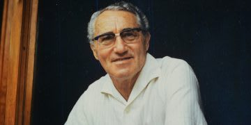 Old man with glasses wearing a white shirt smiling at camera, Adolf, Dassler, Adi, adidas, sports, shoes, shoemaker, history, archive