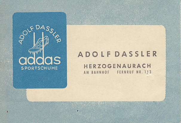 Old fashioned business card from shoermaker Adolf Dassler, Adolf, Dassler, Adi, adidas, sports, shoes, shoemaker, history, archive, Herzogenaurach, addas