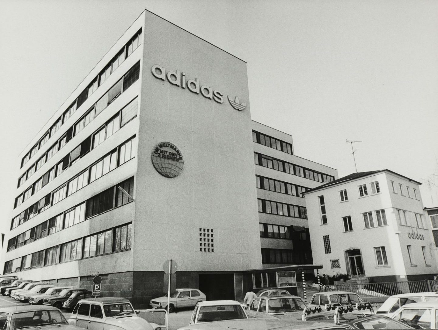 Old fashioned picture of building with adidas logo, Herzogenaurach, 1977, Adolf, Dassler, Adi, adidas, sports, shoes, shoemaker, history, archive