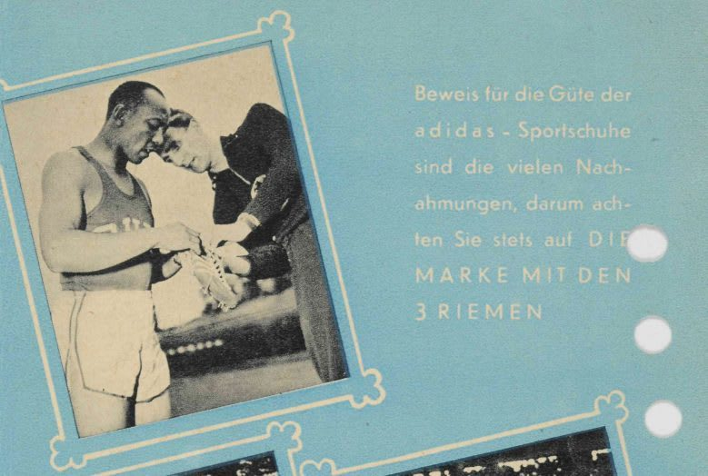 Old fashion poster with pictures of runners on blue background, Jesse Owens, spikes, running, Adolf, Dassler, Adi, adidas, sports, shoes, shoemaker, history, archive