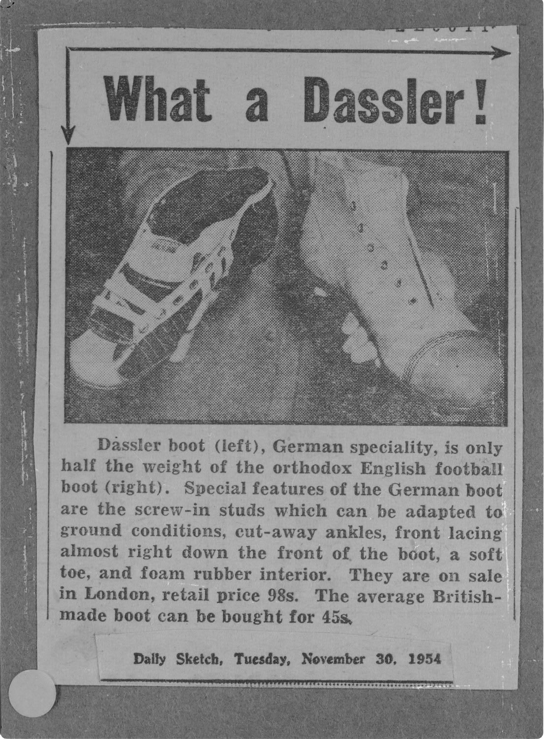 Old fashioned newspaper article with What a Dassler! as headline, Adolf, Dassler, Adi, adidas, sports, shoes, shoemaker, history, archive
