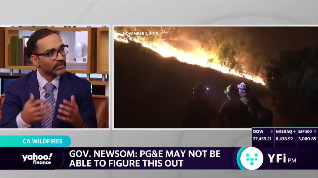Man talking about wildfires on the news during interview, Ryan Patel, news, Yahoo. wildfires, sustainability, business, expert