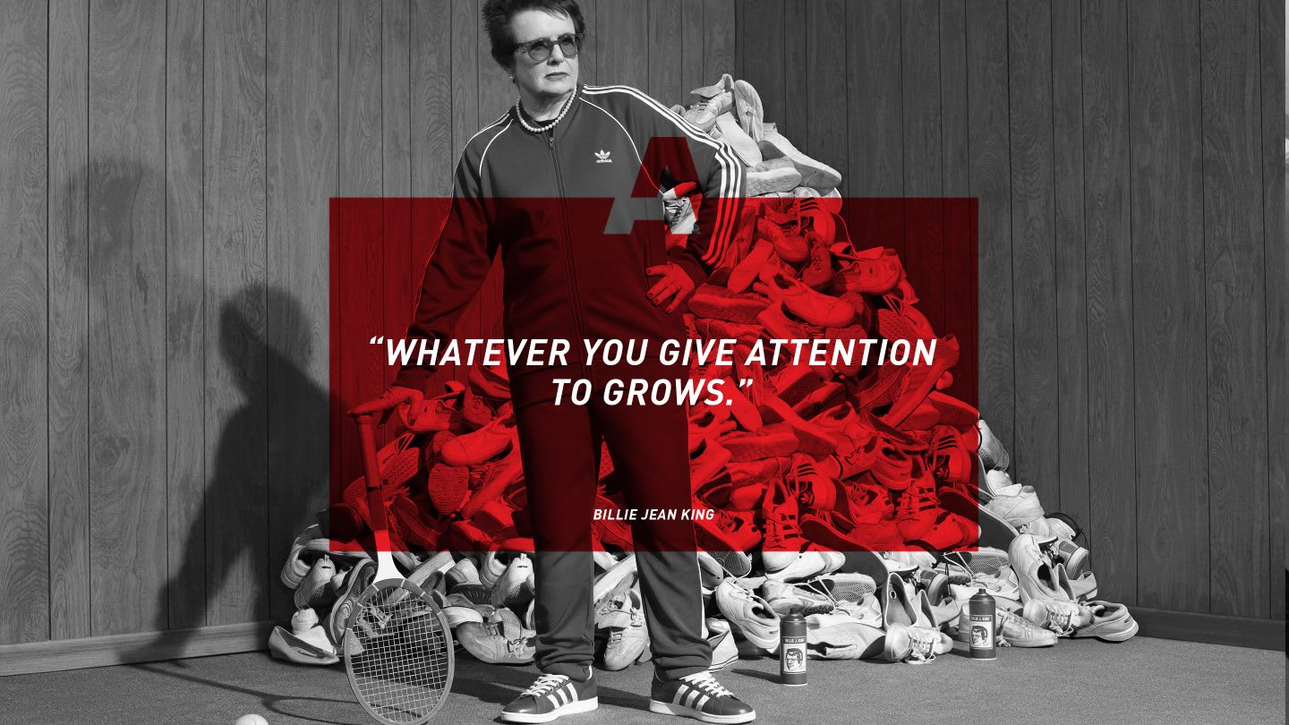 Quote from female tennis player Billie Jean King on GamePlan A, motivation, success, happiness