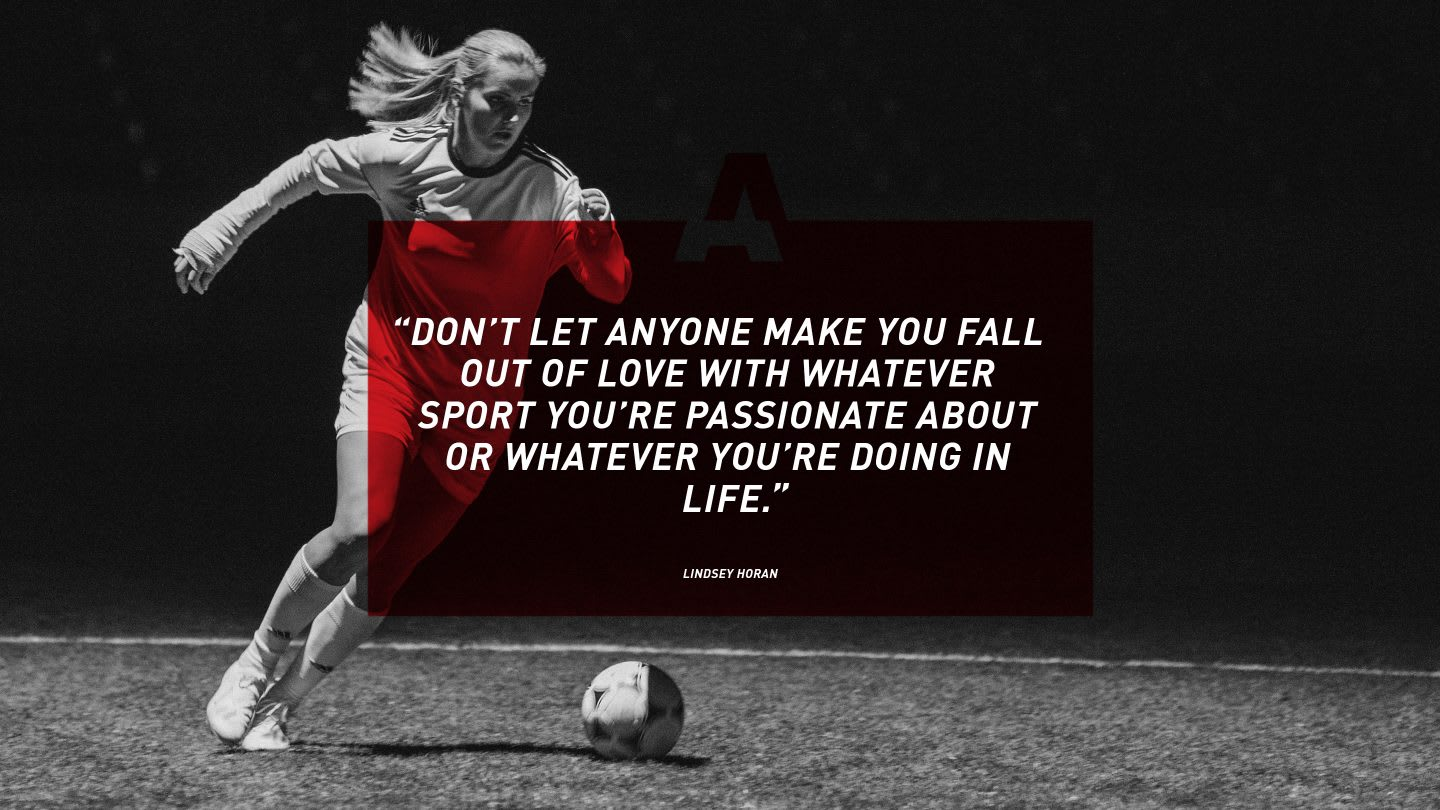 Quote from female footballer Lindsey Horan on GamePlan A, motivation, success, happiness