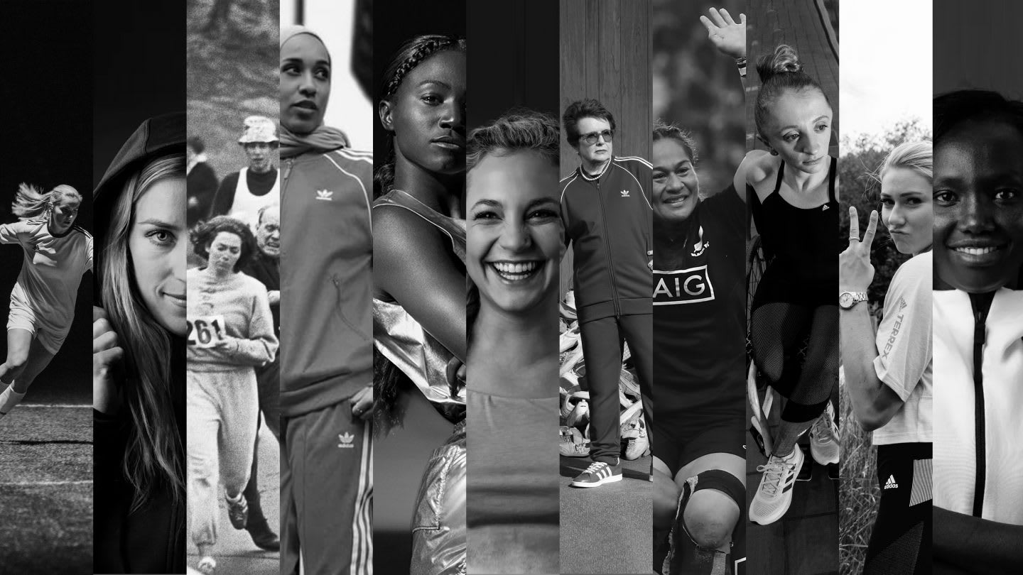 Portraits of adidas female athletes, collage, inspiration, motivation, success