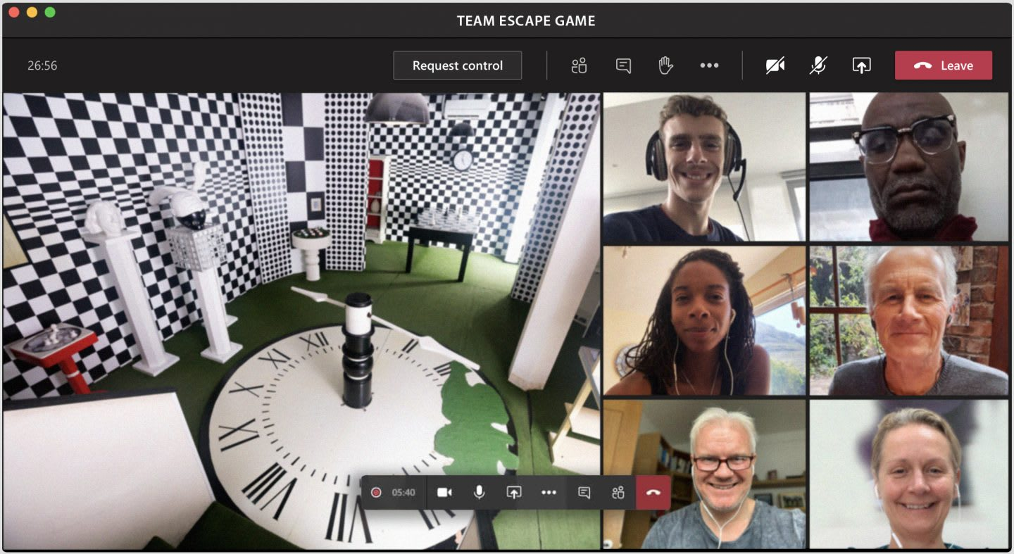 Colleagues playing a virtual escape room on a Microsoft Teams call, team, activity, teamwork, fun, collaboration
