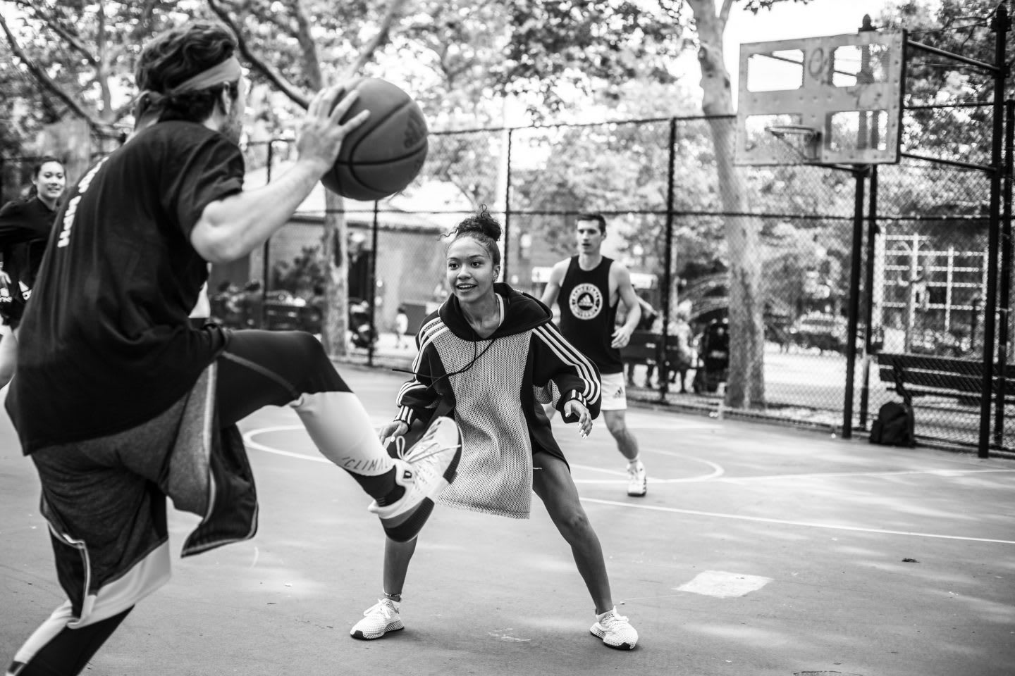 Young people playing basketball on a city court, Kim Aponi, designer, entrepreneur, sport, adidas, Brooklyn Creator Farm